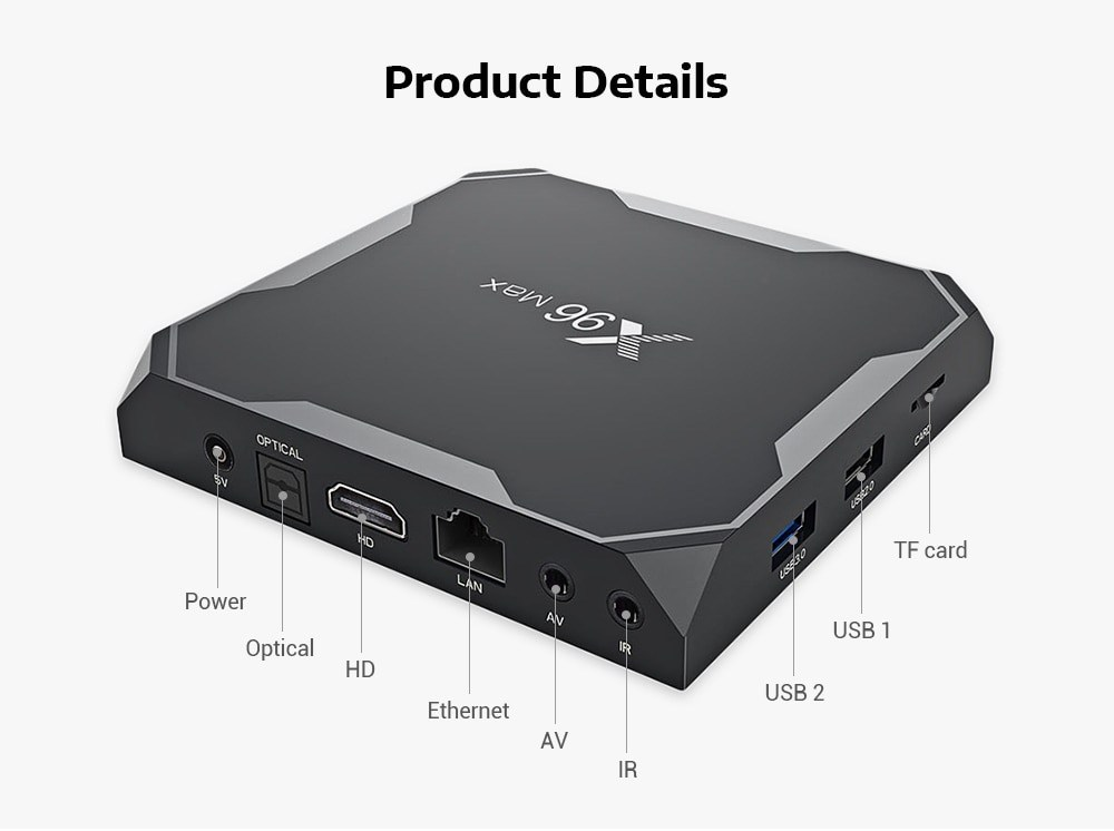 Android TV Box EnyBox X96 MAX Ram 4G Amlogic S905X2